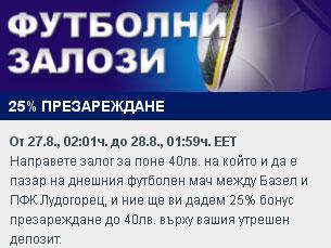 Само днес 27.08.2013 – 25% бонус презареждане в Sportingbet